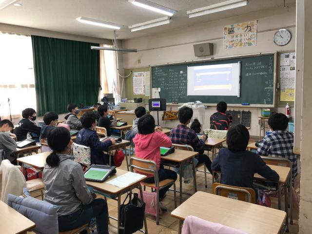 名古屋市立矢田小学校にて、オンライン出張授業を行いました。